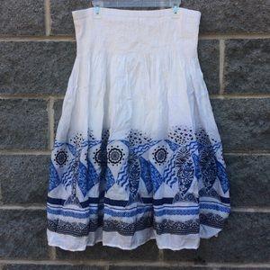 Nordic Fish Print White Full Skirt Size 1X